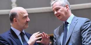 Le commissaire européen chargé de l'économie Pierre Moscovici et le ministre de français de l'économie Bruno Le Maire, le 13 mars, à Bruxelles.