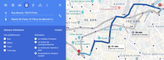 A Paris, plutôt que le métro (en gris), Google Maps conseille de prendre un bus (enbleu).