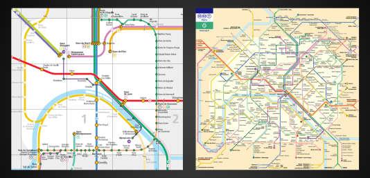 A gauche, le plan des métros compatibles avec les fauteuils roulants. A droite, le plan classique.