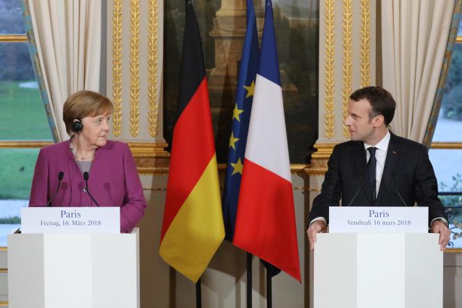 Conférence de presse commune d'Angela Merkel et d'Emmanuel Macron, au palais de l'Elysée, le 16 mars.