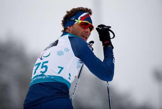 Le champion françaisBenjamin Daviet, le 16 mars, lors des Jeux paralympiques d'hiver dePyeongchang.