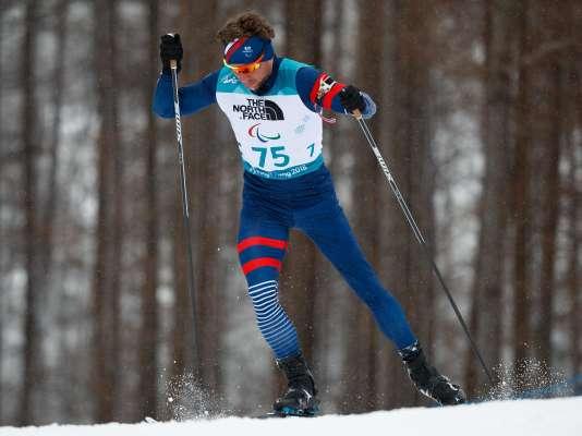 Benjamin Daviet lors du biathlon hommes 15 km, le vendredi 16 mars.