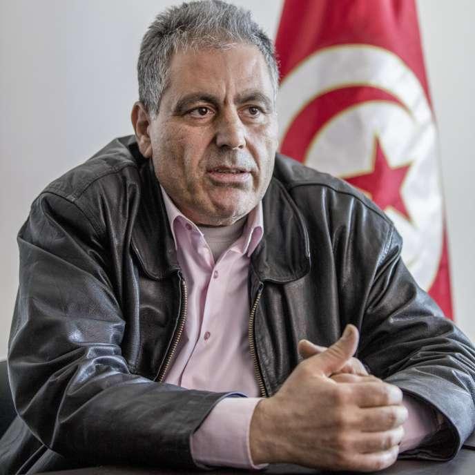 Simon Slama, le 13 mars 2018, au siège régional du mouvement Ennahda, à Monastir, sur la côte est du pays.