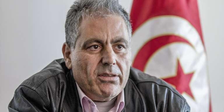 Simon Slama, le 13 mars 2018, au siège régional du mouvement Ennahda, à Monastir, sur la côte ouest du pays.