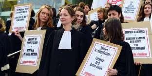 Manifestation de magistrats et d'avocats, à Bordeaux, le 15 mars.