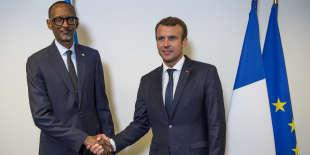 Première rencontre entre Emmanuel Macron et Paul Kagame, à New York, le 18 septembre 2017. L'image a été tweetée par la présidence rwandaise.