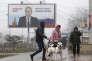 A Stravropol, en Russie, le 9 février. L'affiche dit« un président fort, une Russie forte! ».