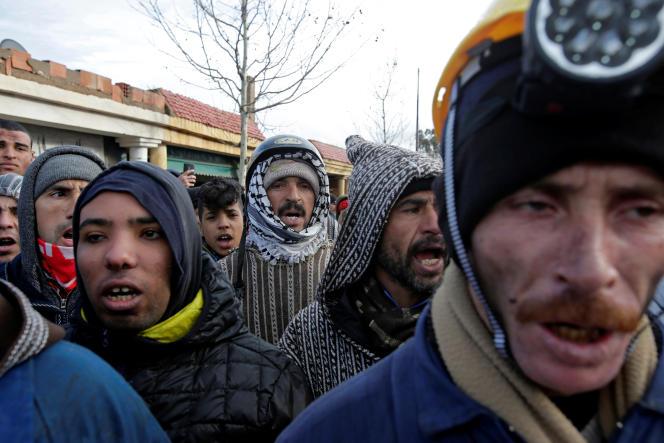 Pendant une manifestation à Jerada, dans l'est du Maroc, le 10 février.