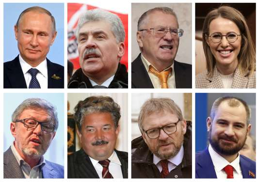 Les candidats à l'élection présidentielle russe: Vladimir Poutine, Pavel Groudinine, Vladimir Jirinovski, Ksenia Sobtchak, Gregori Iavlinski, Sergueï Babourine, Boris Titov, Maxime Suraïkine.