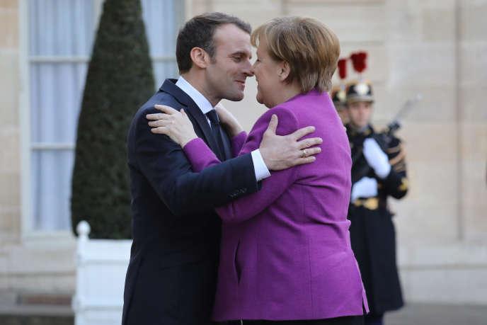 Emmanuel Macron et Angela Merkel, le 16 mars 2018 à l'Elysée.