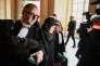 Yildune Lévy (au centre), l'une des mis en cause du procès de Tarnac, à son arrivée au tribunal, le 13 mars.