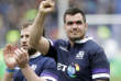 Scotland's Stuart McInally celebrates after defeating Italy during the Six Nations rugby union match between Italy and Scotland at Rome's Olympic stadium, Saturday, March 17, 2018. (AP Photo/Andrew Medichini)