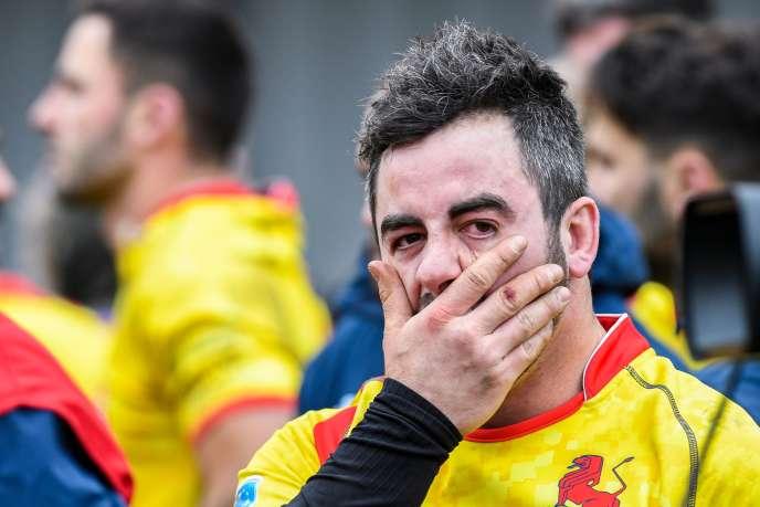 Alberto Blanco, joueur du XV espagnol, après la défaite face à la Belgique, dimanche18 mars.