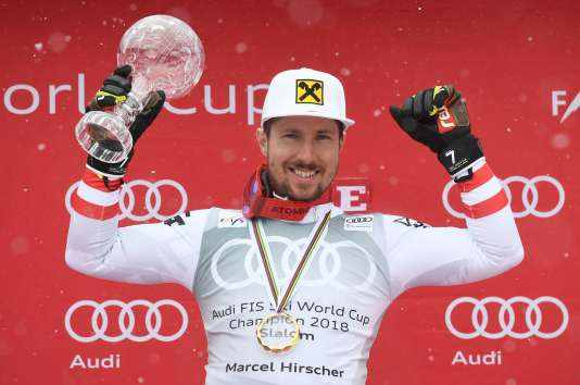 Marcel Hirscher le 18 mars 2018, à Are (Suède).