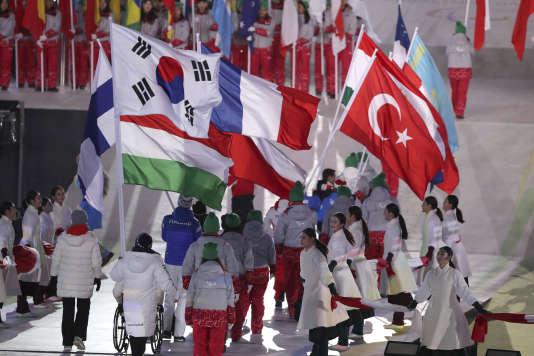 Le drapeau coréen lors de la cérémonie de clôture, le 18 mars.