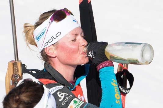 Marie Dorin-Habert à l'issue de la dernière course de sa carrière, à Oslo, le 18 mars 2018.