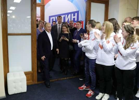 Vladimir Poutine dans son QG de campagne le soir de sa réélection le 18 mars 2018.