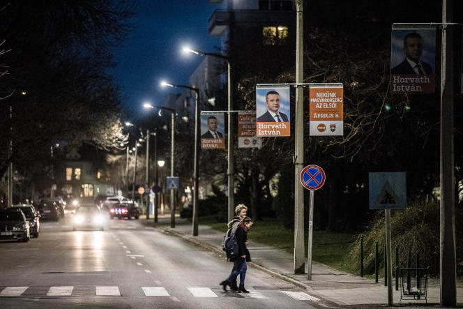 Des lampadaire d'Elios Innovativ, àSzekszard. Sur les affiches,Istvan Horvath, membre duFidesz, le parti de Viktor Orban.