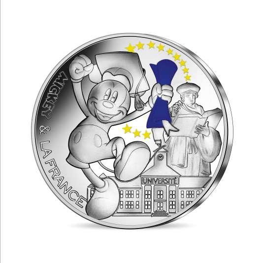Pièce en argent colorisé, valeur faciale de 50 euros.