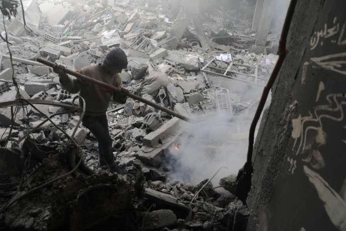 A Douma, dans la Ghouta orientale, près de Damas, le 19 mars.