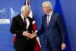 David Davis, secrétaire d'Etat britannique à la sortie de l'Union européenne et Michel Barnier, négociateur en chef de l'UE, le 19 mars à Bruxelles.