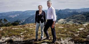 Virginie Calmels et Laurent Wauquiez, lors de la montée du mont Mézenc, en Ardèche, en septembre 2017.