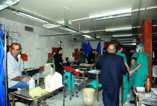 A l'hôpital de Damas, après l'attaque deJaramana. Photo de SANA, l'agence officielle du régime de Damas.