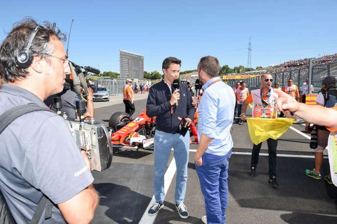 Tournage de « La Grille», avec Thomas Sénécal, rédacteur en chef F1 de Canal +, et Franck Montagny, consultant.