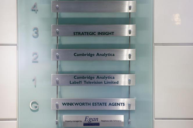 L'entrée des locaux deCambridge Analytica à Londres, le 20 mars.