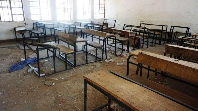 Une classe déserte de l'école de Dapchi, au Nigeria.