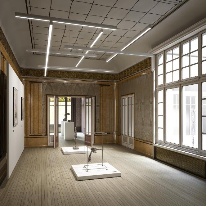 Projection 3D de l'Institut Giacometti dans l'ancien atelier du décorateur Paul Follot (architecte Pascal Grasso,architecte ACMH associé Pierre-Antoine Gatier).