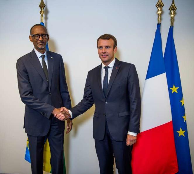 Première rencontre entre Emmanuel Macron et le président rwandais Paul Kagame, le 18 septembre 2017.