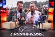 Sur le plateau de Formula One de Canal +, animé par Margot Laffite (assise à gauche), le 27 août 2017.
