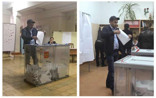 Deux photos montrant un électeur votant dans deux bureaux de vote différents, lors de l'élection présidentielle d'Oust-Djegouta, en Russie, le 18 mars 2018.