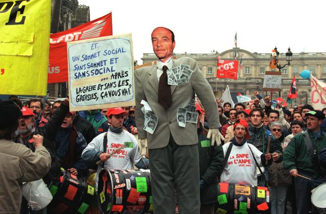 Journée de mobilisation contre le plan Juppé à Bordeaux, le 12 décembre 1995.