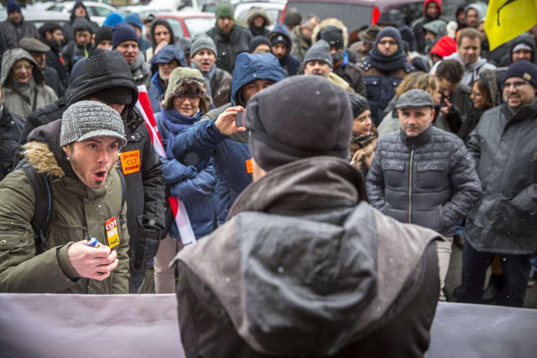 Rassemblement du personnel SNCF de Nouvelle-Aquitaine, le 28 février, à Bordeaux.