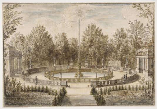 « Vue de la fontaine de la Renommée dans le parc du château de Versailles», par IsraëlSilvestre (1680), Musée du Louvre, département des arts graphiques.