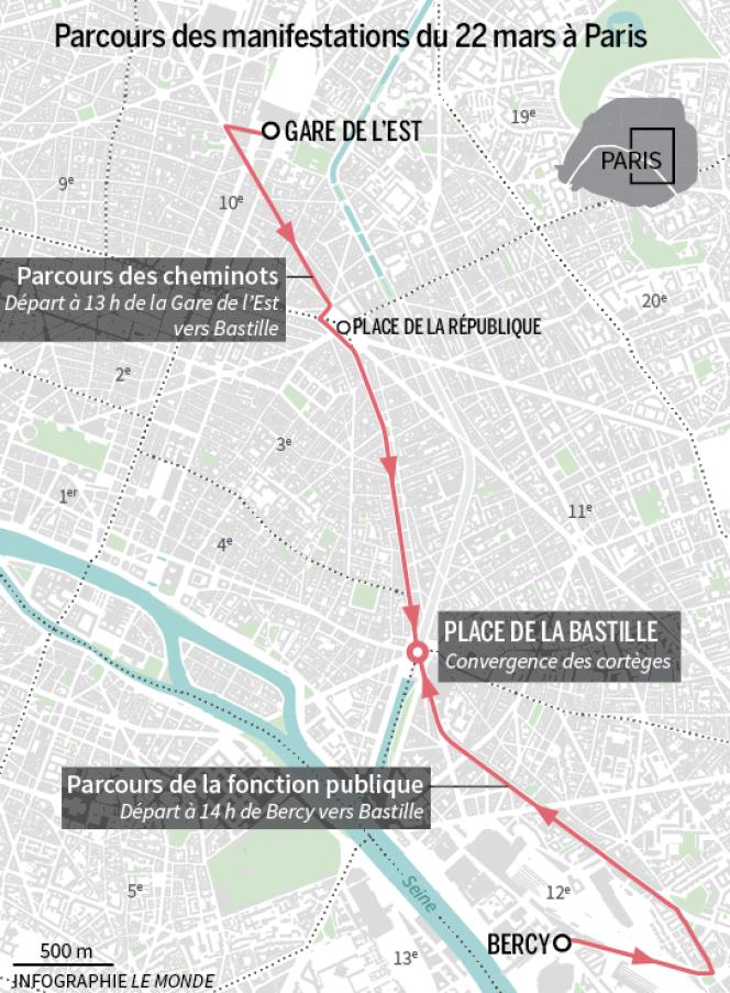 Le trajet de la manifestation des cheminots SNCF et de la fonction publique du22 mars à Paris.