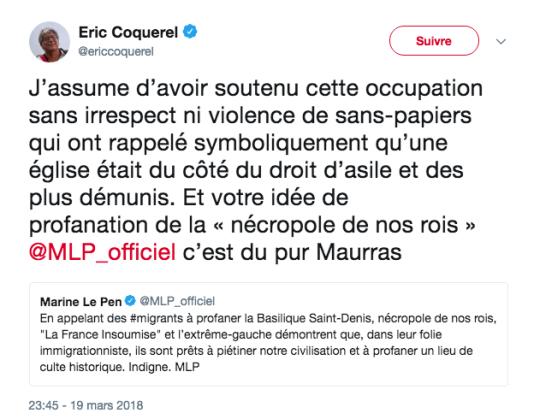 Le message d'Eric Coquerel daté du 19 mars 2018.