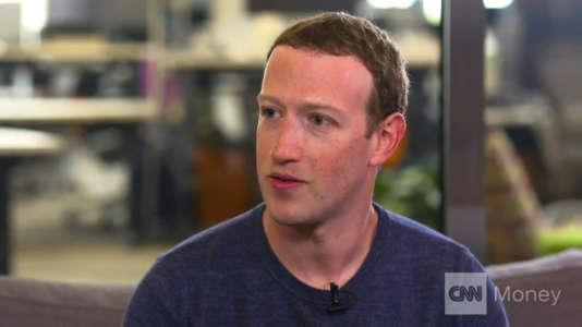 Mark Zuckerberg durant son interview sur la chaîne d'information américaine CNN, le 21 mars.