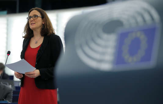 La commissaire au commerce,CéciliaMalmström, au Parlement européen, àStrasbourg, le 14 mars.