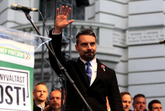 Le chef de file du Jobbik, Gabor Vona, à Budapest, le 15 mars.