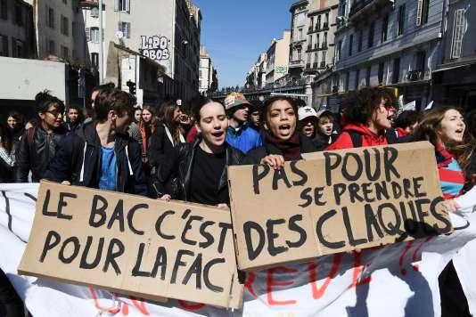 Mobilisation contre la réforme du baccalauréat. Marseille, le 22 mars.