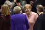 La chancelière allemande Angela Merkel discute avec la première ministre britannique Theresa May lors du Conseil européen à Bruxelles, le 22 mars.