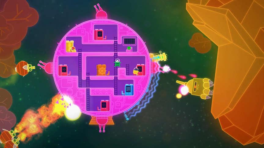 Dans« Lovers in a Dangerous Spacetime», quatre joueurs collaborent dans un joyeux bazar pour diriger et défendre cette grosse sphère spatiale.