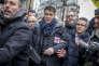 Olivier Faure (PS) participe à la manifestation nationale des cheminots contre le projet de réforme de leur statut à Paris le 22 mars 2018.