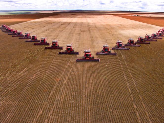 Une immense exploitation de soja à Campo Verde, au Brésil.