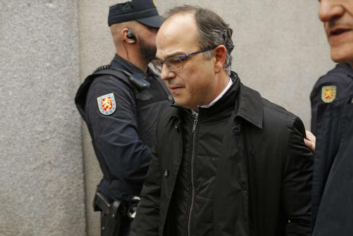 Le candidat indépendantiste à la présidence de la Catalogne, Jordi Turull, à son arrivée à la Cour suprême, à Madrid, le 23 mars.