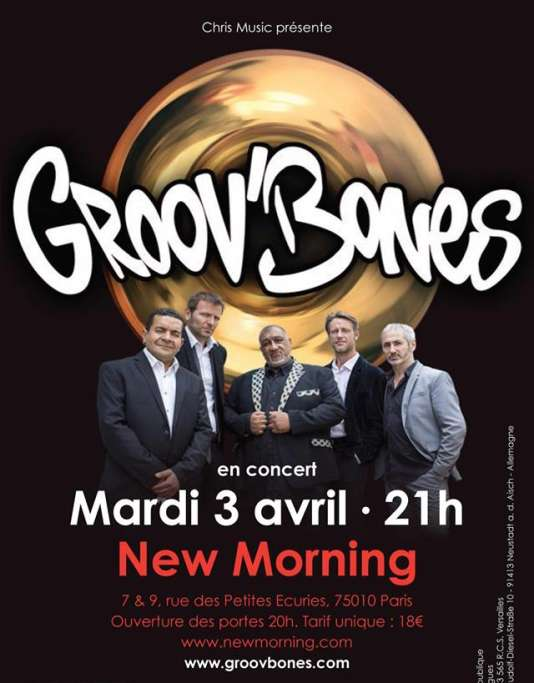 Affiche du concert de Groov'Bones au New Morning, le 3 avril.