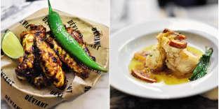 Spicy chicken wings et lotte rôtie à l'orange sanguine.